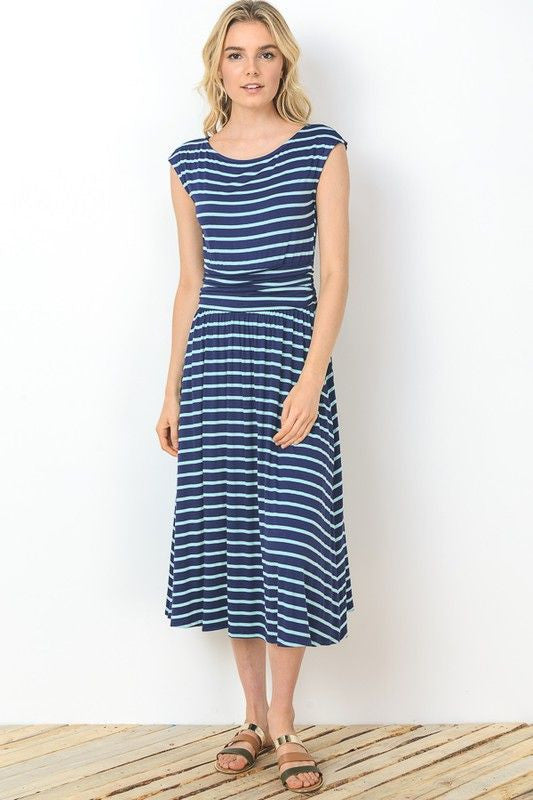 American Made Women's Striped Midi Dress in Blue