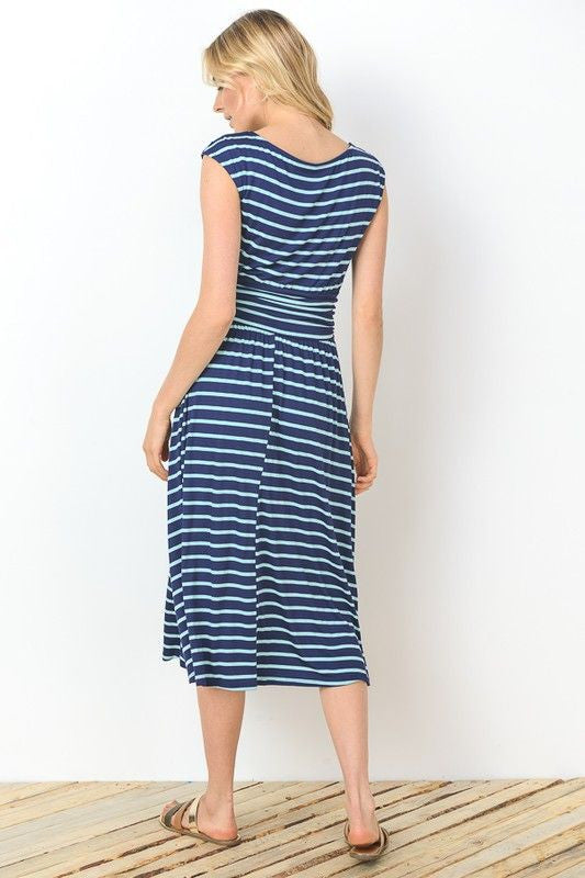 American Made Women's Striped Midi Dress in Blue Back