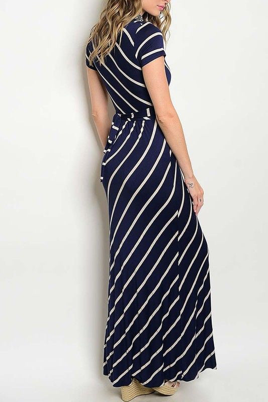 American Made Women's Navy Striped Faux Wrap Maxi Dress Back