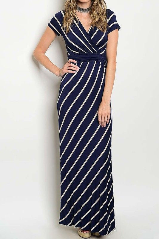 American Made Women's Navy Striped Faux Wrap Maxi Dress Front
