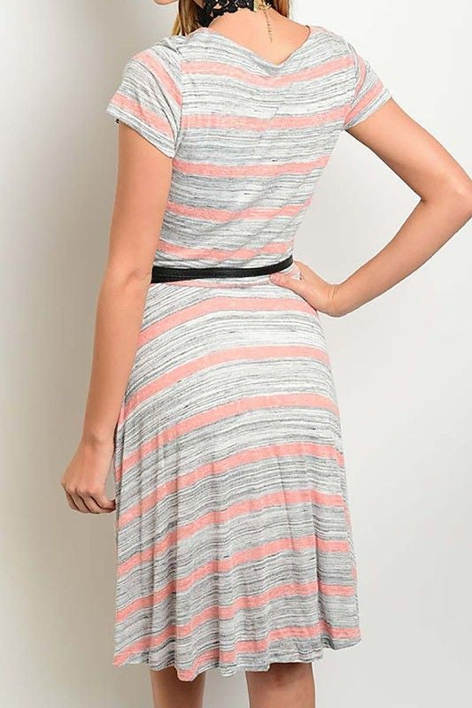 American Made Women's Striped Faux Wrap Dress in Grey and Rose Back