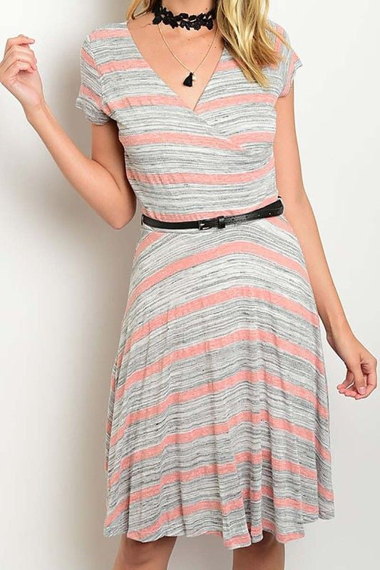 American Made Women's Striped Faux Wrap Dress in Grey and Rose Front