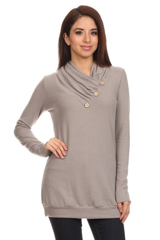 American Made Women's Taupe Ruched Neck Sweater Front