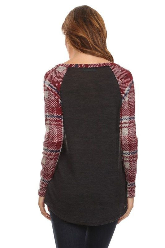 American Made Women's Grey Raglan Tee with Red Plaid Sleeves Back
