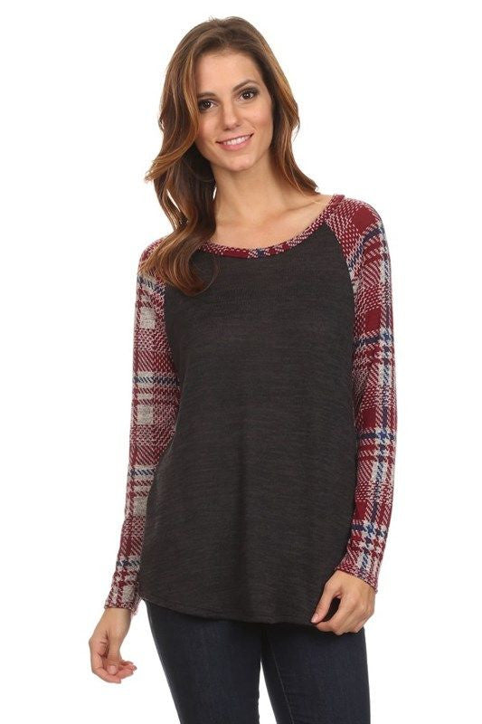 American Made Women's Grey Raglan Tee with Red Plaid Sleeves Front