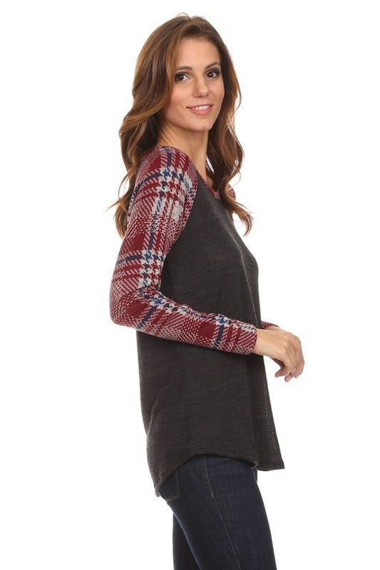American Made Women's Grey Raglan Tee with Red Plaid Sleeves Side
