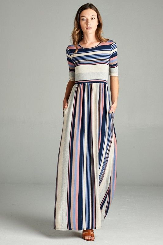 American Made Women's Pastel Striped Maxi Dress With Pockets