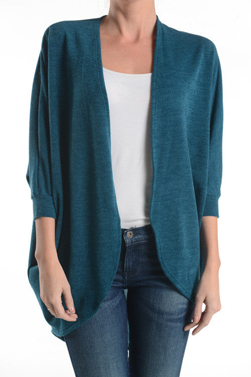American Made Women's Teal Dolman 3/4 Sleeve Cardigan Sweater Front