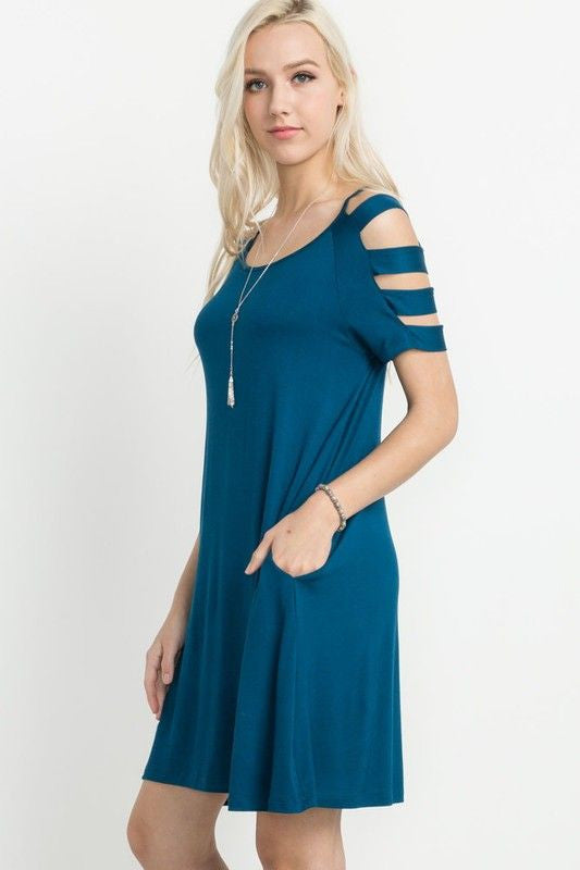 American Made Women's Teal Modal Ladder Sleeve Swing Dress Side
