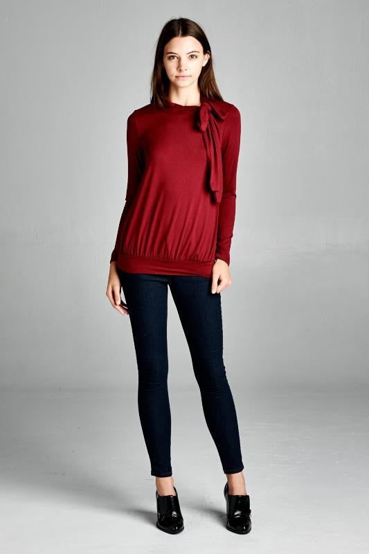 American Made Women's Red Retro Bow Top Front