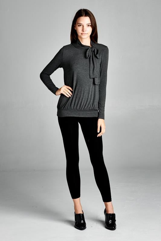 American Made Women's Grey Retro Bow Top Front