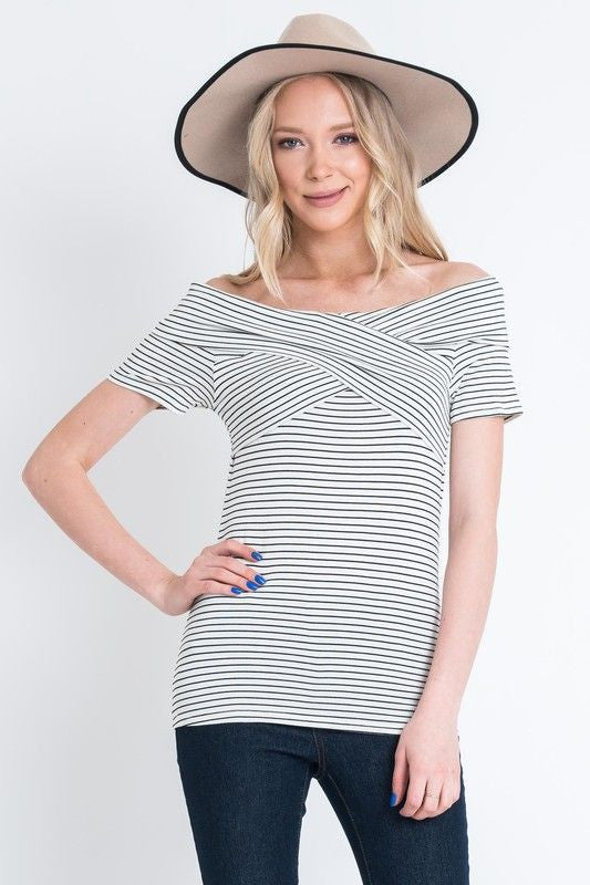 American Made Women's Striped Off The Shoulder Top Front