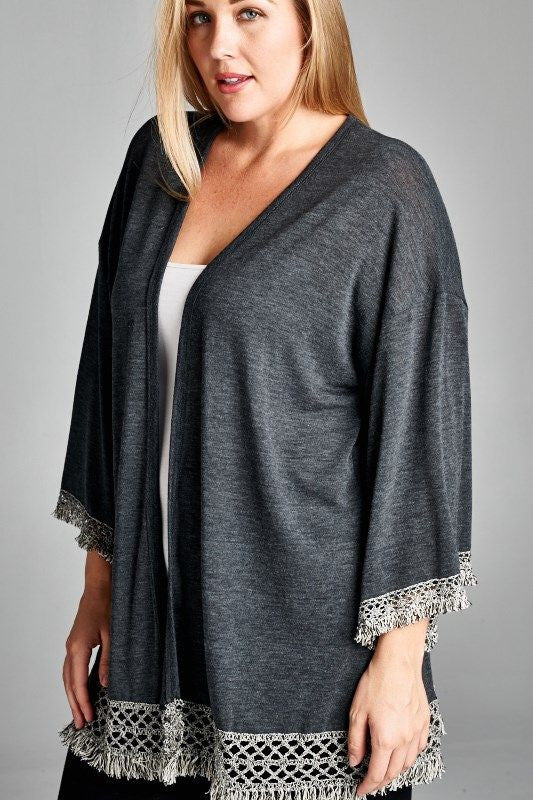 American Made Women's Grey Fringe Kimono Cardigan Closeup Plus Size