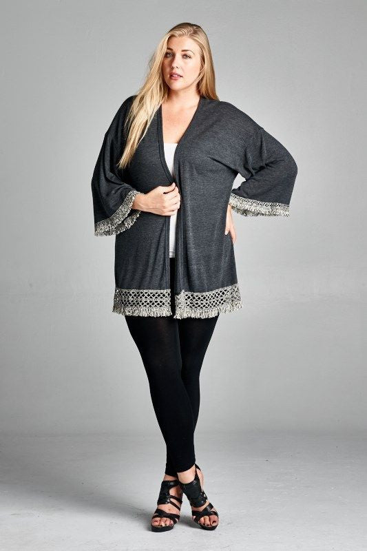 American Made Women's Grey Fringe Kimono Cardigan Front Plus Size