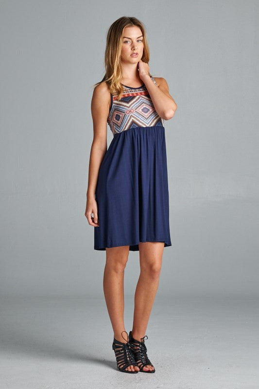 American made women's dress with printed tank top side