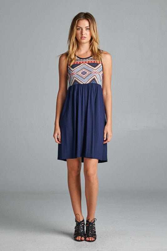 American made women's dress with printed tank top front