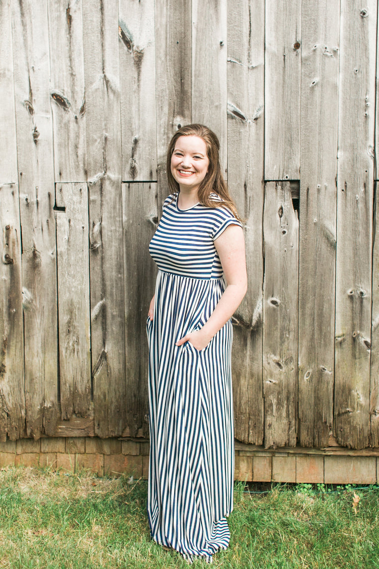 American Made Women's Navy & White Striped Maxi Dress With Pockets
