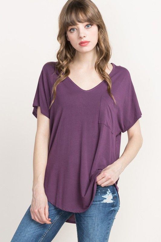 American Made Women's Purple Slouchy V-neck Tee Front