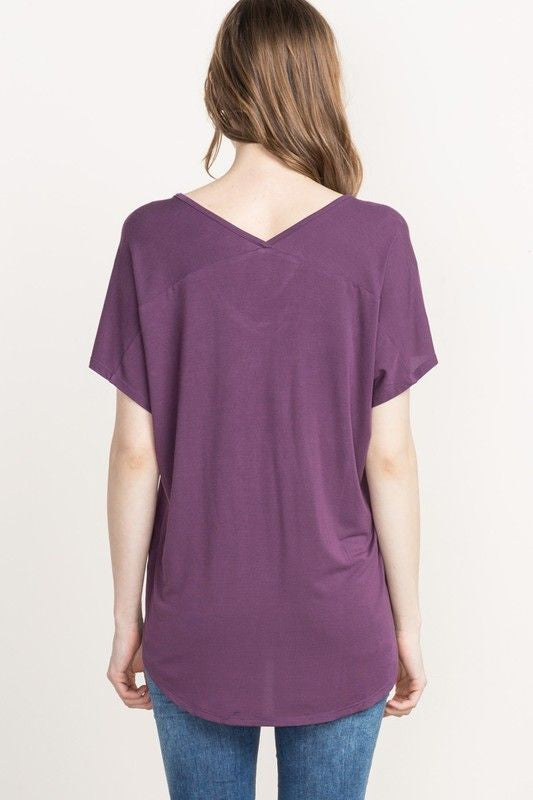 American Made Women's Purple Slouchy V-neck Tee Back