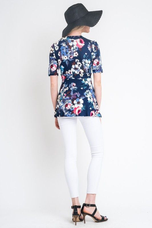 American Made Women's Navy Floral Faux Wrap Top Back
