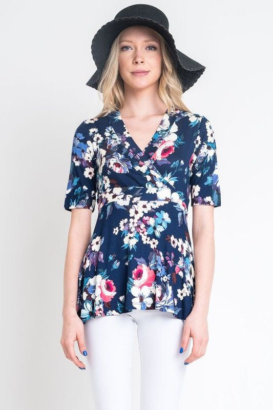 American Made Women's Navy Floral Faux Wrap Top Closeup