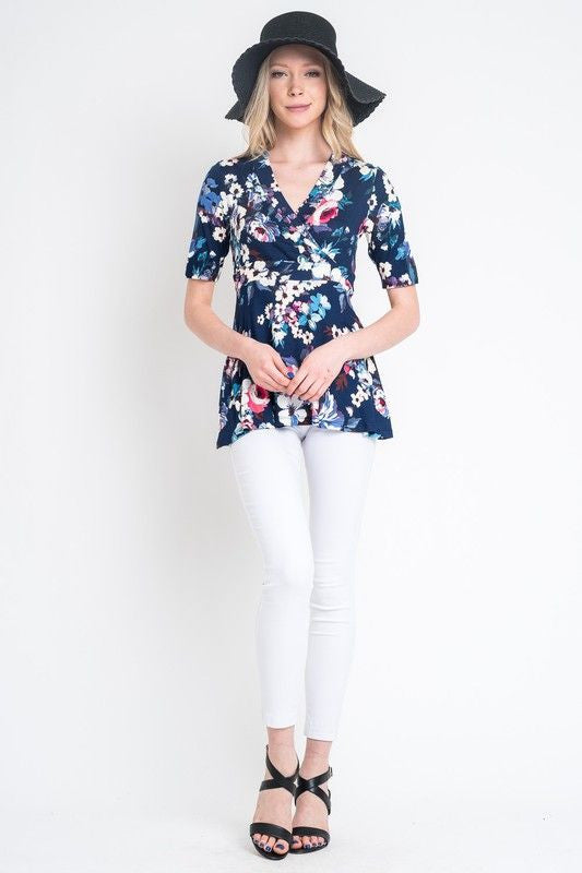 American Made Women's Navy Floral Faux Wrap Top Front