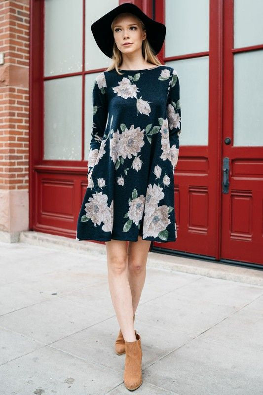 American Made Women's Winter Floral Dress in Navy Front