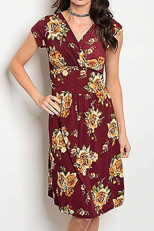 American Made Women's Winter Floral A-Line Dress Front