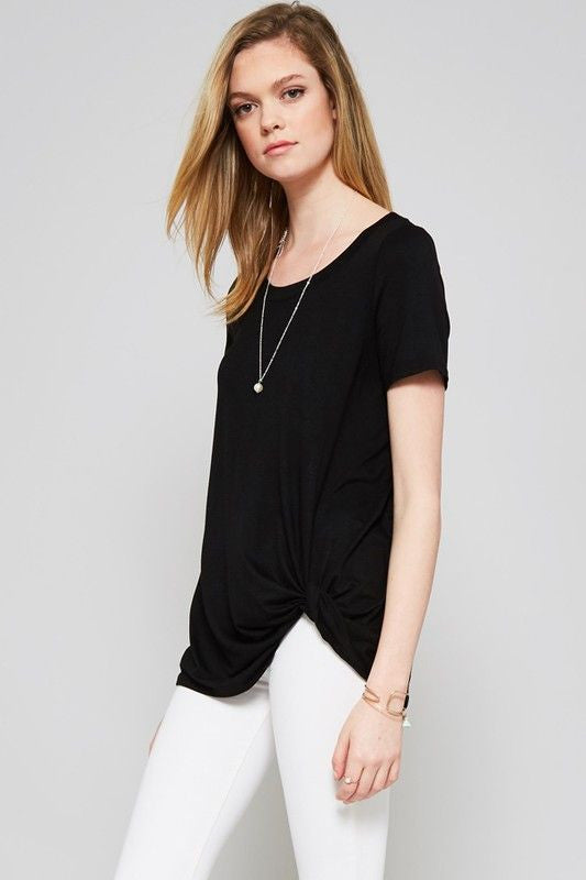 American Made Women's Black Knotted Tee