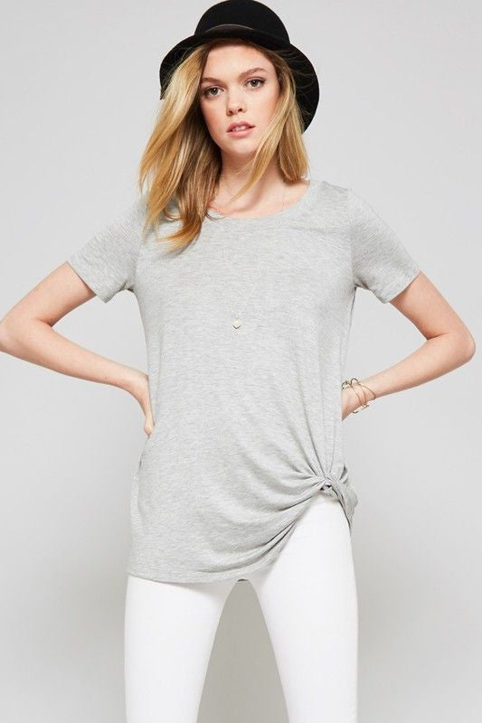 American Made Women's Gray Knotted Tee