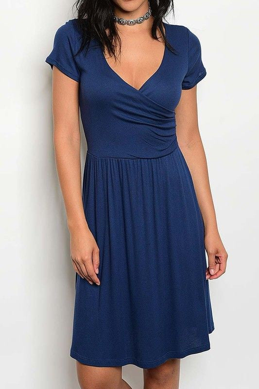 American Made Women's Navy Modal Faux Wrap Dress Front