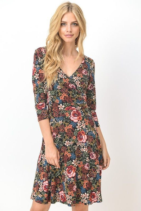 American Made Women's Floral Long Sleeve Faux Wrap Dress