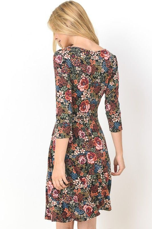 American Made Women's Floral Long Sleeve Faux Wrap Dress Back