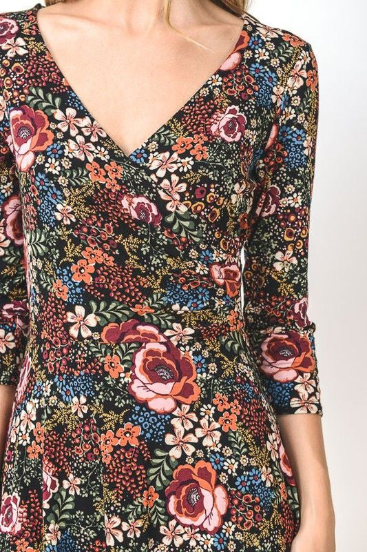 American Made Women's Floral Long Sleeve Faux Wrap Dress Closeup