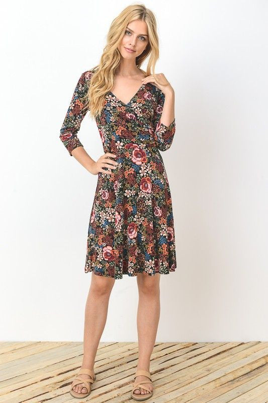 American Made Women's Floral Long Sleeve Faux Wrap Dress Front
