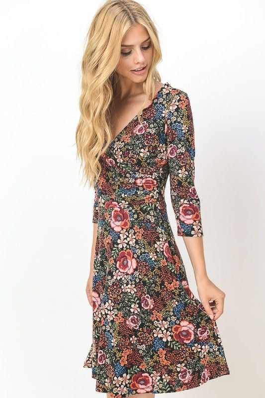 American Made Women's Floral Long Sleeve Faux Wrap Dress Side