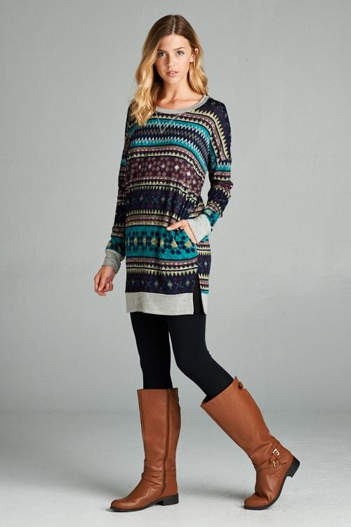 American Made Women's Teal & Purple Fair Isle Tunic Top Side