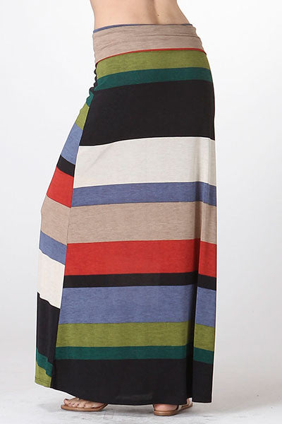 American made women's bold striped maxi skirt back