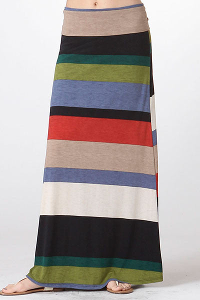 American made women's bold striped maxi skirt front