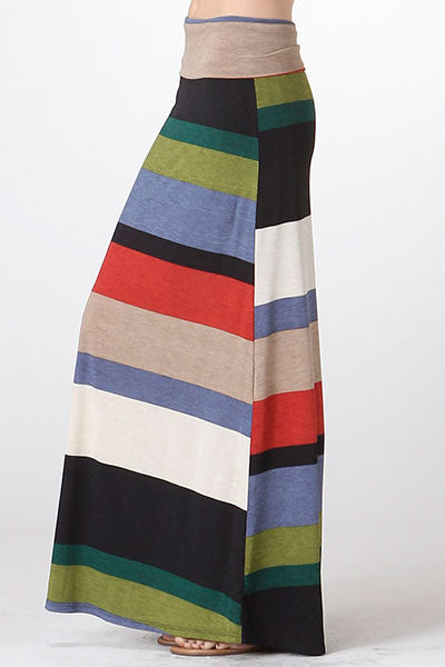 American made women's bold striped maxi skirt side
