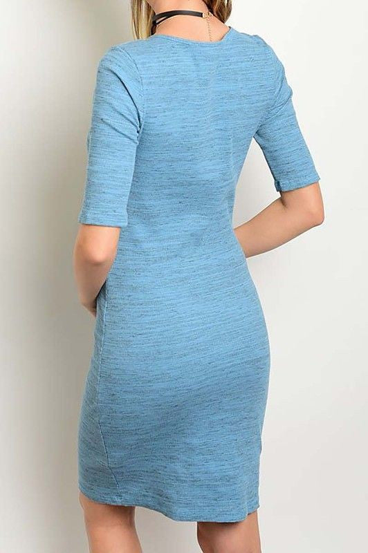 Made in USA Women's Blue Crisscross Tie Bodycon Dress Back