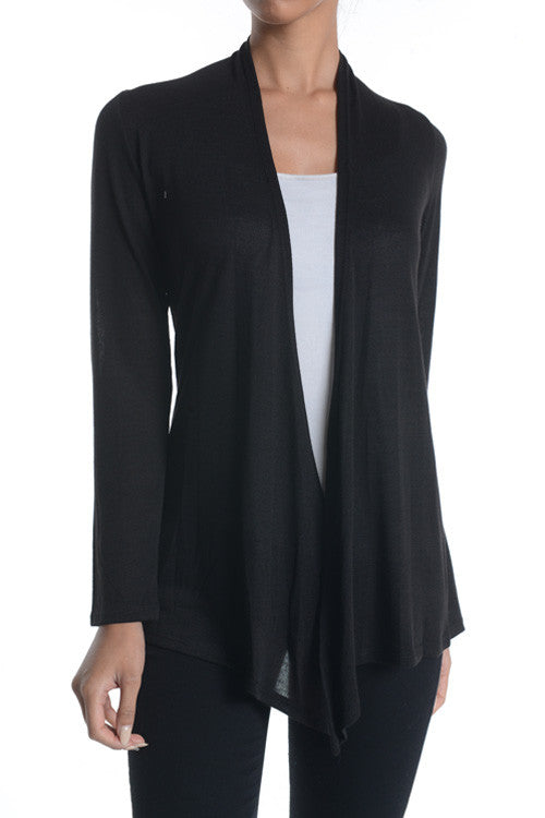 Made in USA Women's Black Lightweight Open Front Cardigan