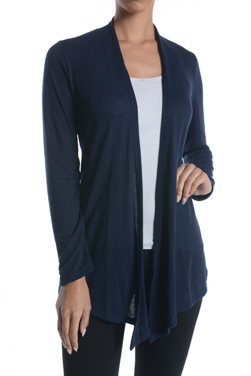 Made in USA Women's Lightweight Open Front Navy Cardigan Front Regular Size