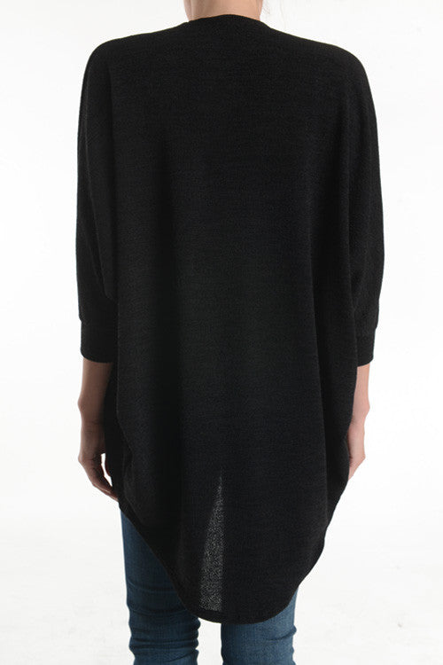 American Made Women's Black Dolman Cardigan Back