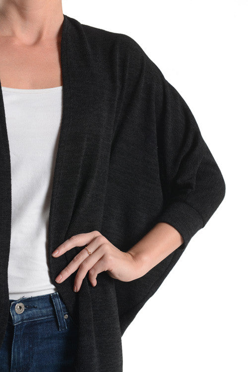 American Made Women's Black Dolman Cardigan Front Closeup