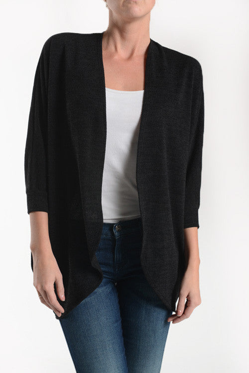 American Made Women's Black Dolman Cardigan Front