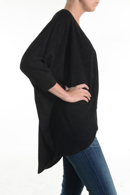 American Made Women's Black Dolman Cardigan Side