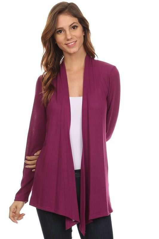 American made women's lightweight open front cardigan in purple front view