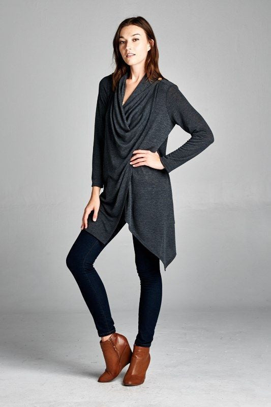 Made in USA Grey Dramatic Drape Cardigan Front