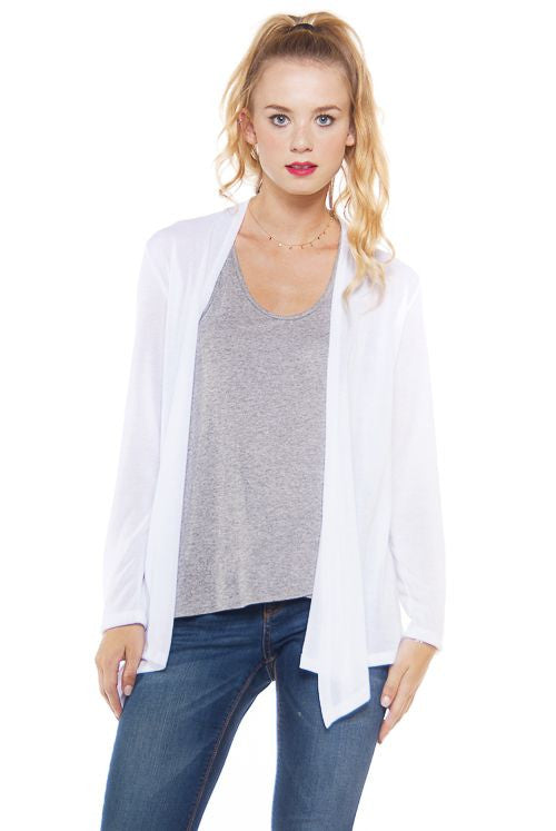 Made in USA Women's Lightweight Ivory Cardigan Front